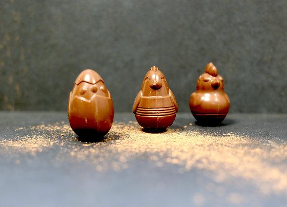 Famille Poussin - 3 pièces - Chocolat Lait - 15 gr/pièce
