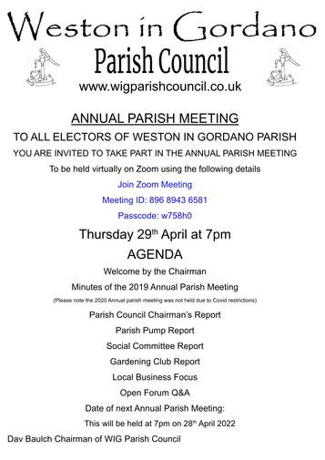 Annual Parish Meeting - 29th April 2021