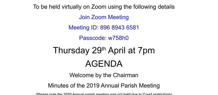 Annual Parish Meeting - 29th April 2021