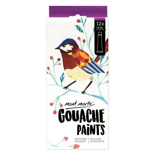 MONT MARTE Gouache Paint Set - 12ml each - 12pcs