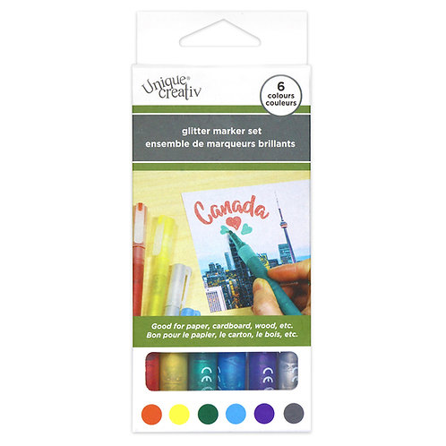 UNIQUE CREATIV Glitter Marker Set of 6