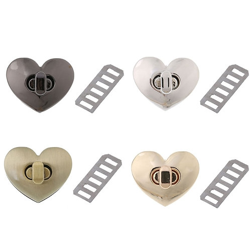 Heart Twist Lock - A Little Swag for Your Bag - Gold, Silver & Black