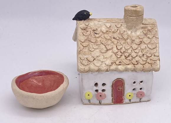 Cornish Cottage with blackbird on roof - incense cone holder