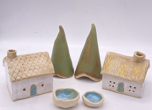Incense Cone Ceramic Cottage and Tree