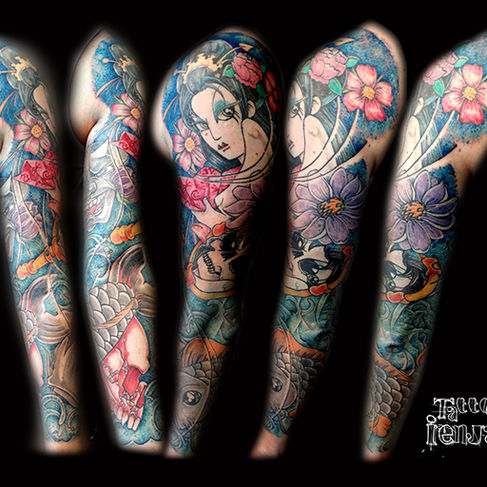 Oriental full sleeve. Freehand. by tattoo ienjas Gent (Melle)