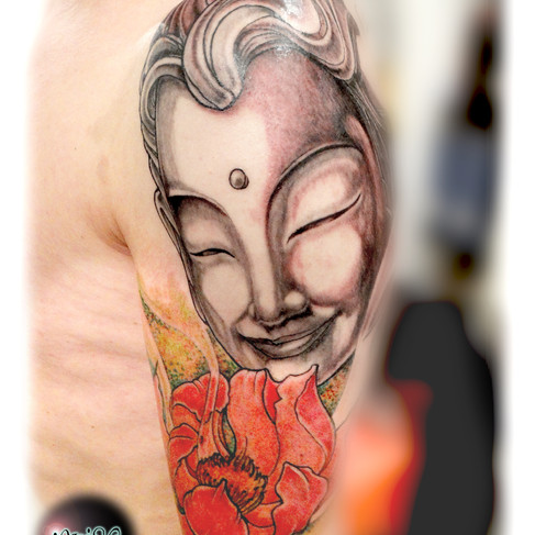 Buddha with lotus. Freehand.
