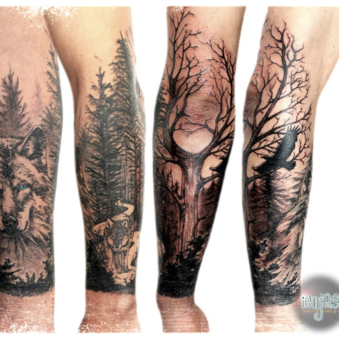 Forest with wolf. Mostly freehand.