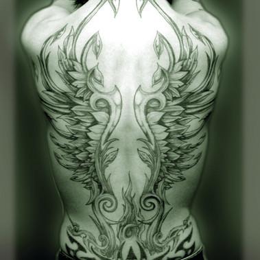 Ornamental wings. Freehand. Black 'n grey.