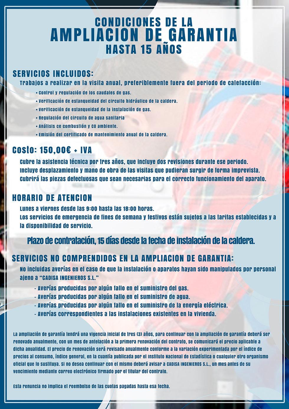 CONDICIONES AMPLIACION DE GARANTIA 15 AÑ