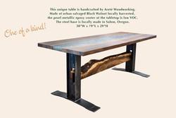 Walnut/Epoxy/Metal Table by Areté