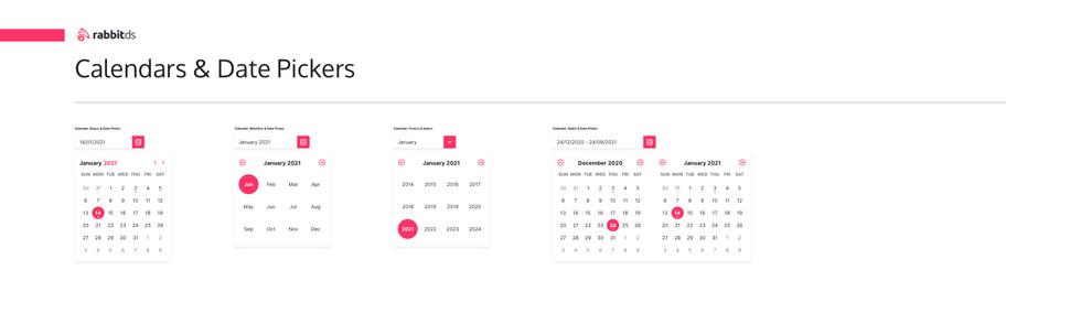 Calendars & Date Pickers