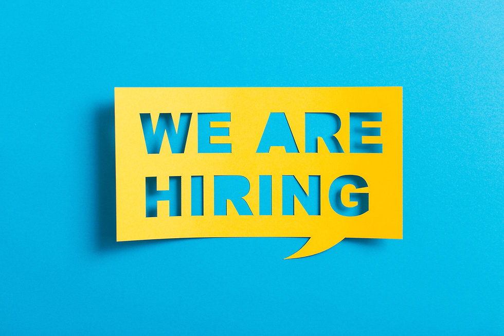 Bubble speech with cut out phrase _we are hiring_  in the paper..jpg