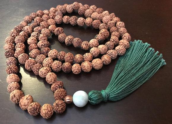 Rare Vintage Bhadraksha Seed Meditation beads with Copper & Jade