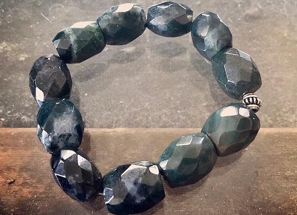 Faceted Blood Stone & Sterling Silver Bracelet