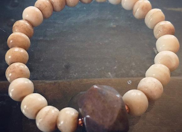 Cow Bone, Vintage Purple Jasper & Copper Mala Bracelet