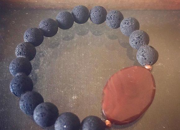 Lava Rock Bracelet with Carnelian & Copper