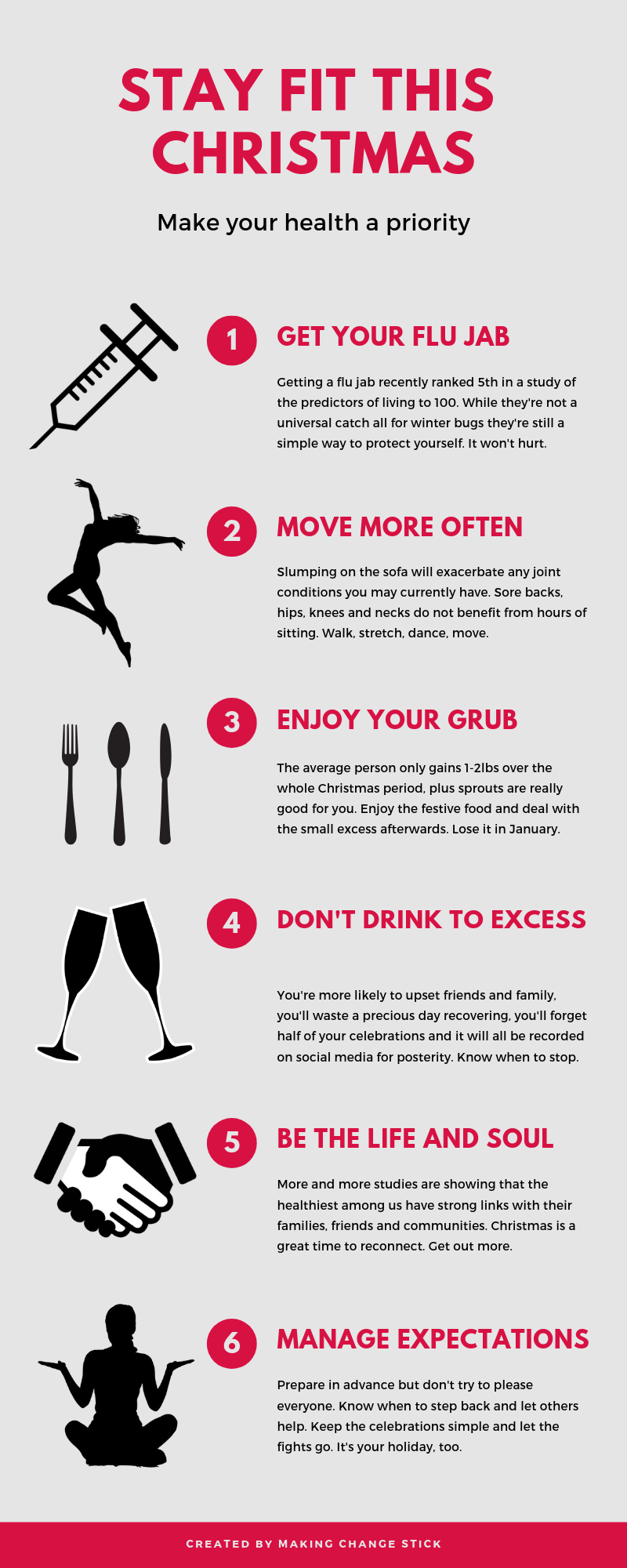 making change stick infographic about how to stay fit this Christmas