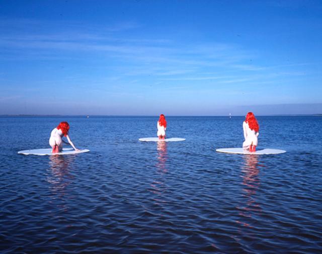 Performance lac de Maubuisson - Carcans-Maubuisson 2006 - Photography of performance contrecollée sur aluminium - 80cm x 110cm