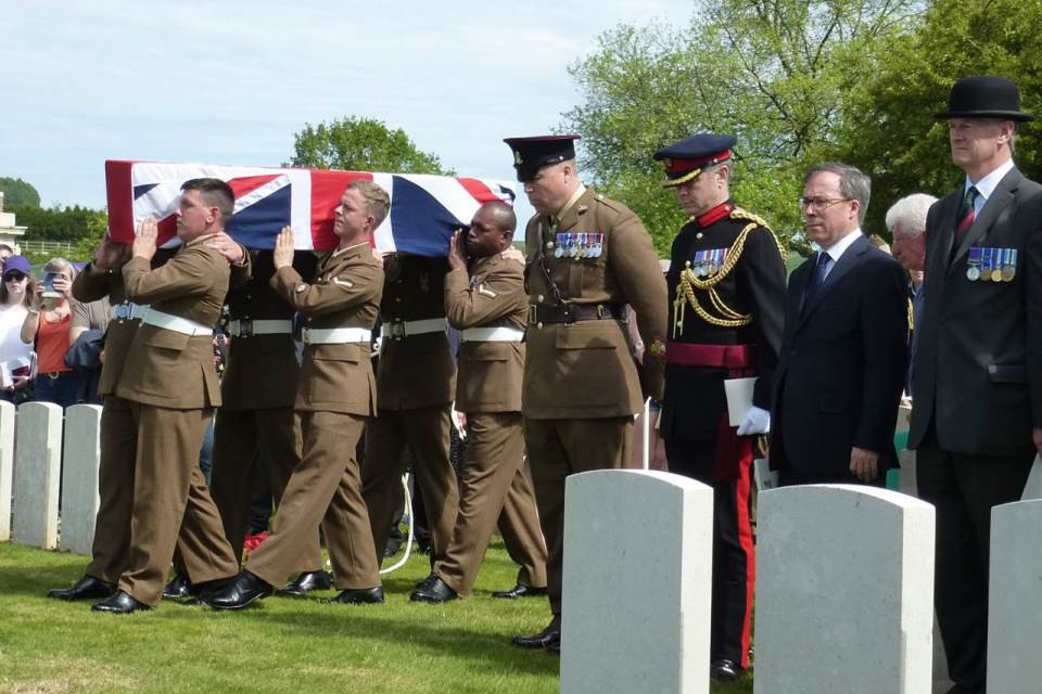 The bearer party at Henry Parker's funeral on May 17 2017. Crown Copyright