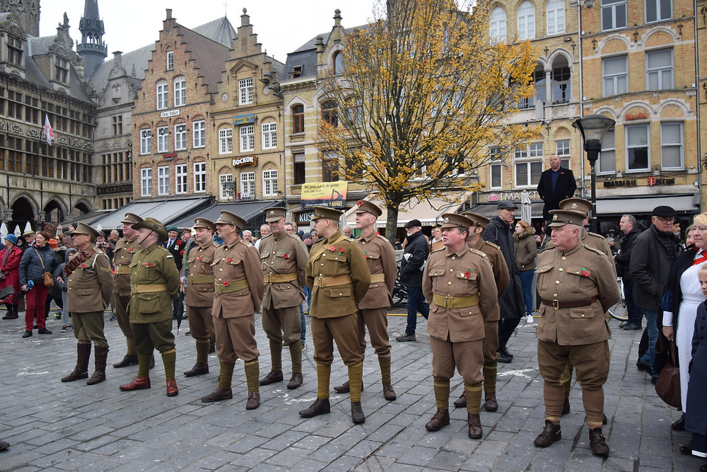 WW1 re-enactors in the Grotemarkt, Ypres, on Armistice Day