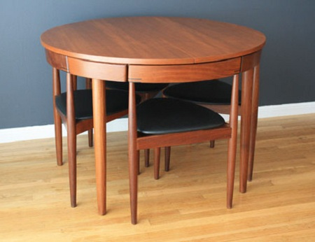 Hans-Olsen-for-Frem-Rojle-Teak-Dining-Table-with-Four-Leather-Covered-Chairs-1953