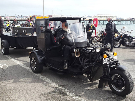 Seafront pause during funeral processions for bikers