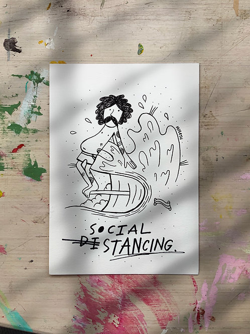 Original drawing 'Social Stancing'