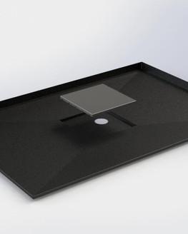 Base de douche en inox émaillé noir avec