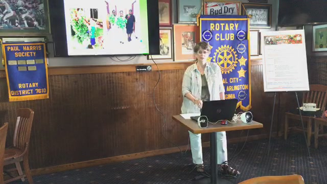 """Welcome to the Crystal City Pentagon Rotary Club's 8 May 2019 meeting on the 1st floor of the Crystal City Sports Pub at 529 S. 23rd St. Arlington, VA 22202. Our guest this morning is Ms. Vicki McGonegal from """"Tower Gardens"""" who will speak to us abou"""