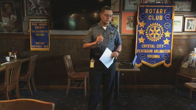 Welcome to the Crystal City Pentagon Rotary Club's 15 May 2019 meeting on the 1st floor of the Crystal City Sports Pub at 529 S. 23rd St. Arlington, VA 22202. Our guests this morning are ACPD Detectives John Bamford and Tim Parsons who will speak to