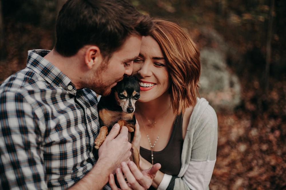 Engagement photo shoot with dog