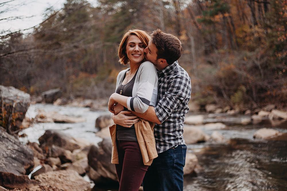 Engagement photo shoot at a creek