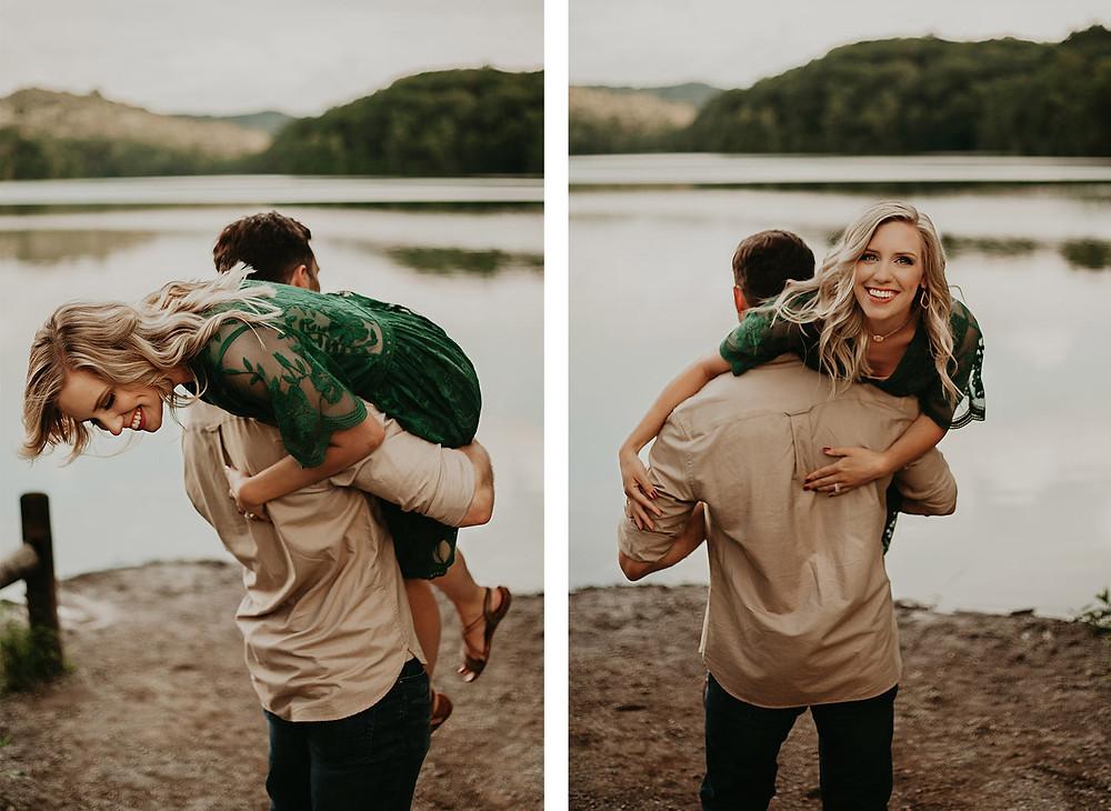 engagement session guy holding girl over shoulders