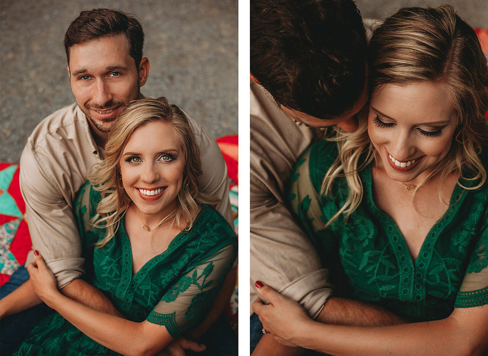 engagement session couple snuggling