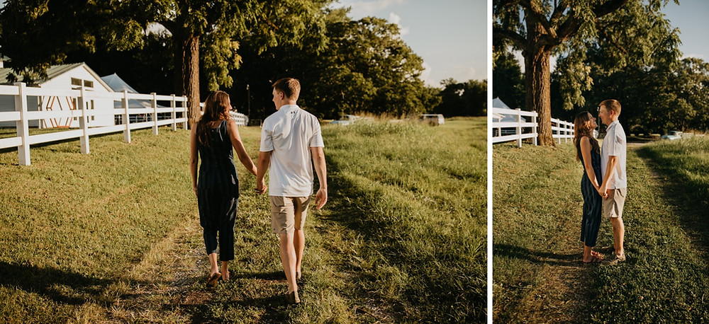 Cute romantic couple walking and kissing in sunlight during Family session in Knoxville and Gatlinburg, TN during golden hour