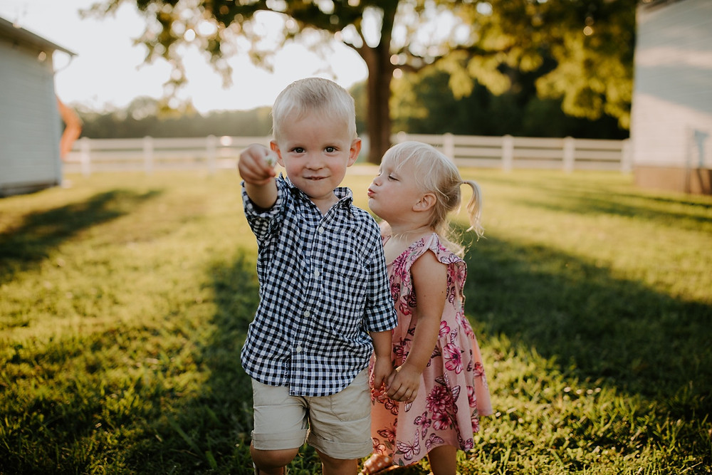 toddler siblings during Family session in Knoxville and Gatlinburg, TN during golden hour