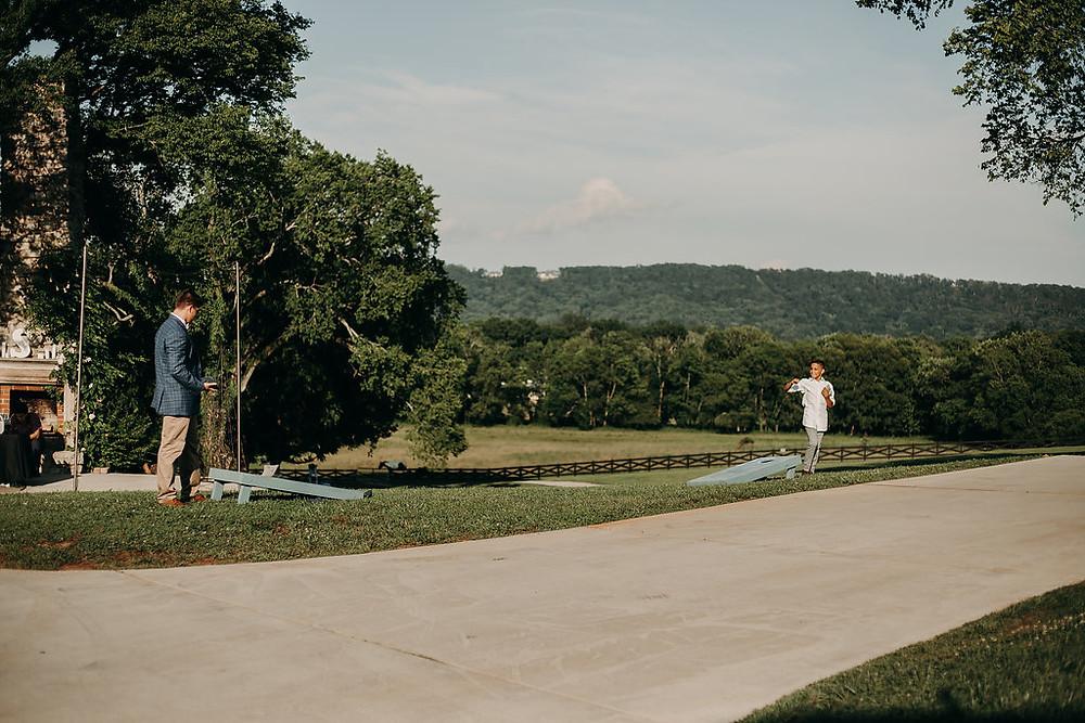 Corn Hole yard Games for wedding reception