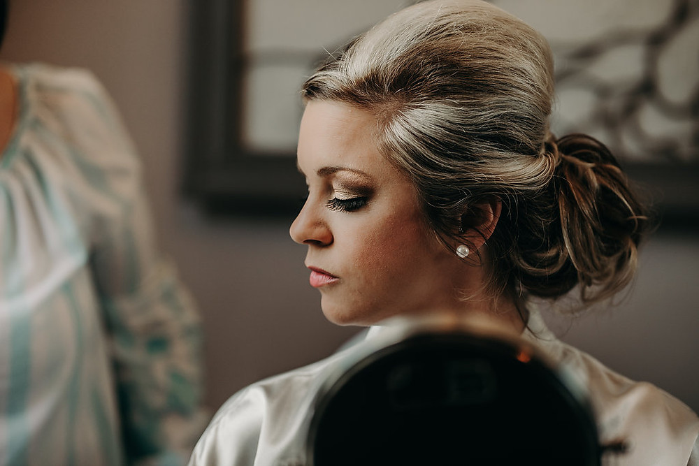 Bridal hair and makeup with updo