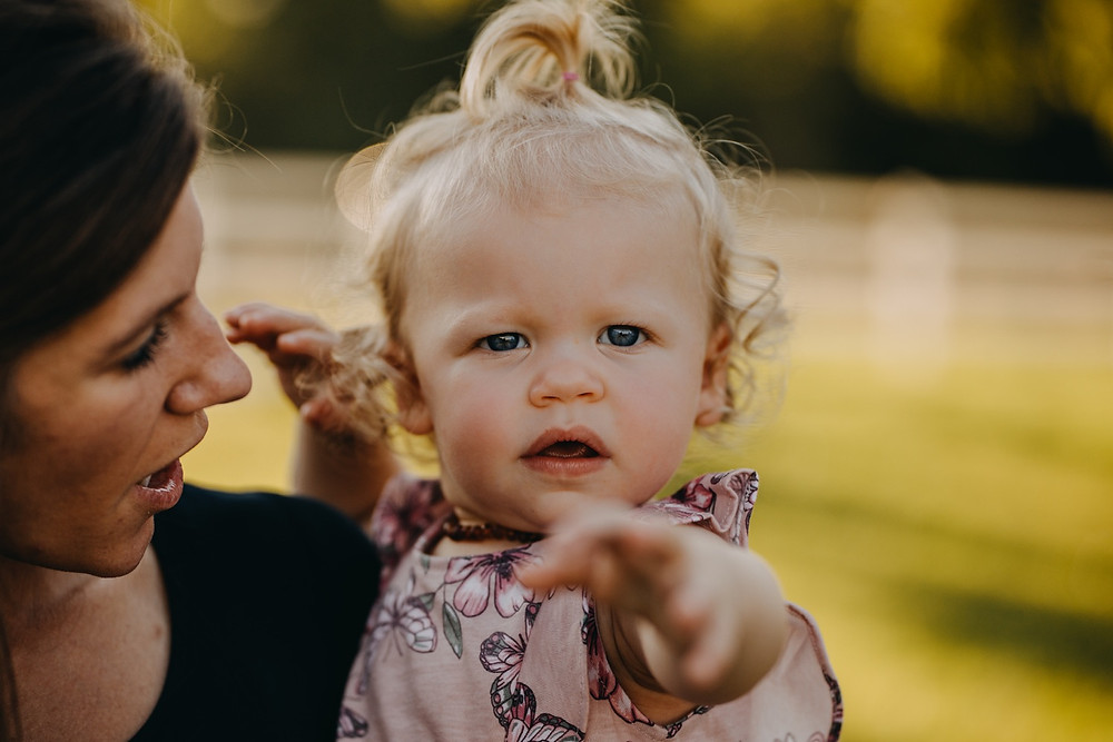 Close up of toddler girl during a Family session in Knoxville and Gatlinburg, TN during golden hour