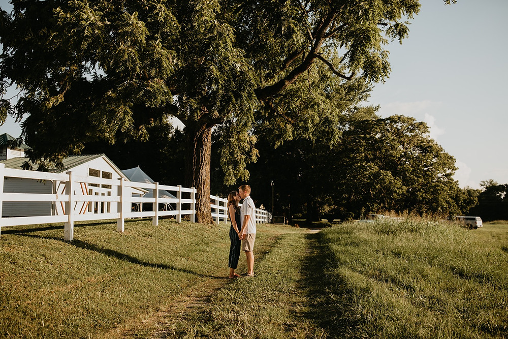 Cute romantic couple kissing in sunlight during Family session in Knoxville and Gatlinburg, TN during golden hour