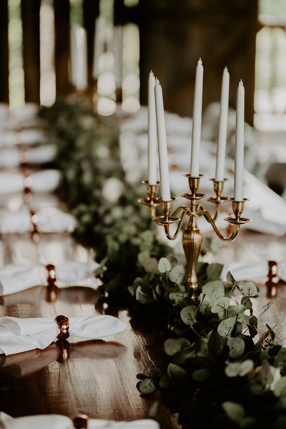 Wedding Decorations table with eucalyptus