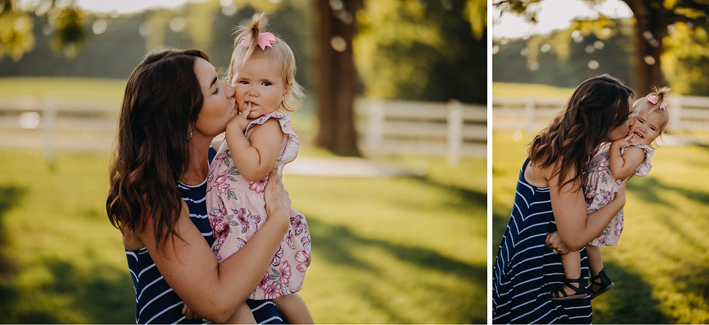 Mom and Daughter during family session in Knoxville and Gatlinburg, TN during golden hour