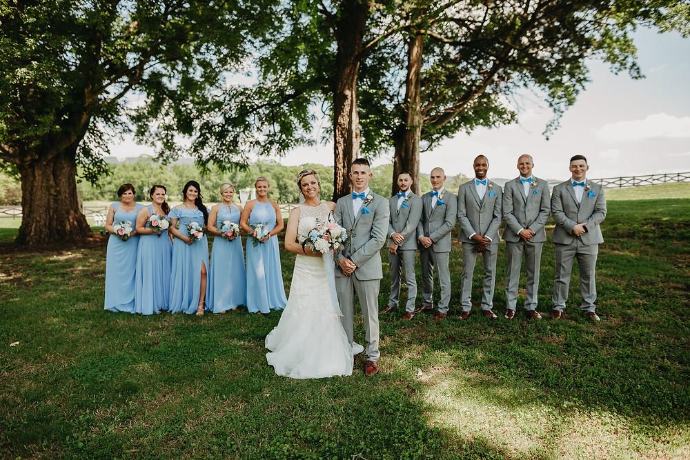 Wedding couple with wedding party