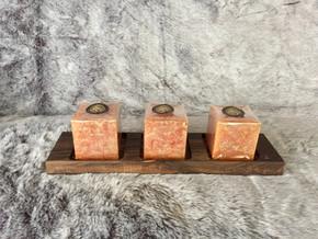 walnut 3 square candles holder