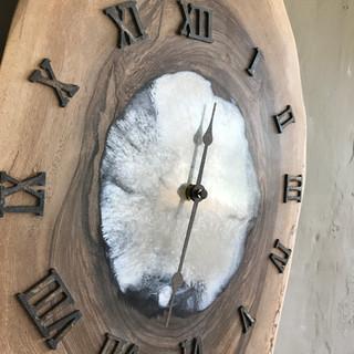 White Epxoy Resin Clock