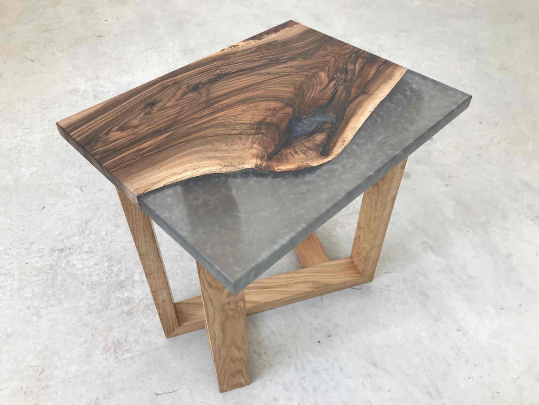 Grey Resin Walnut Side table angle legs-