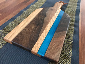 Turquoise Walunut and Oak Cutting board