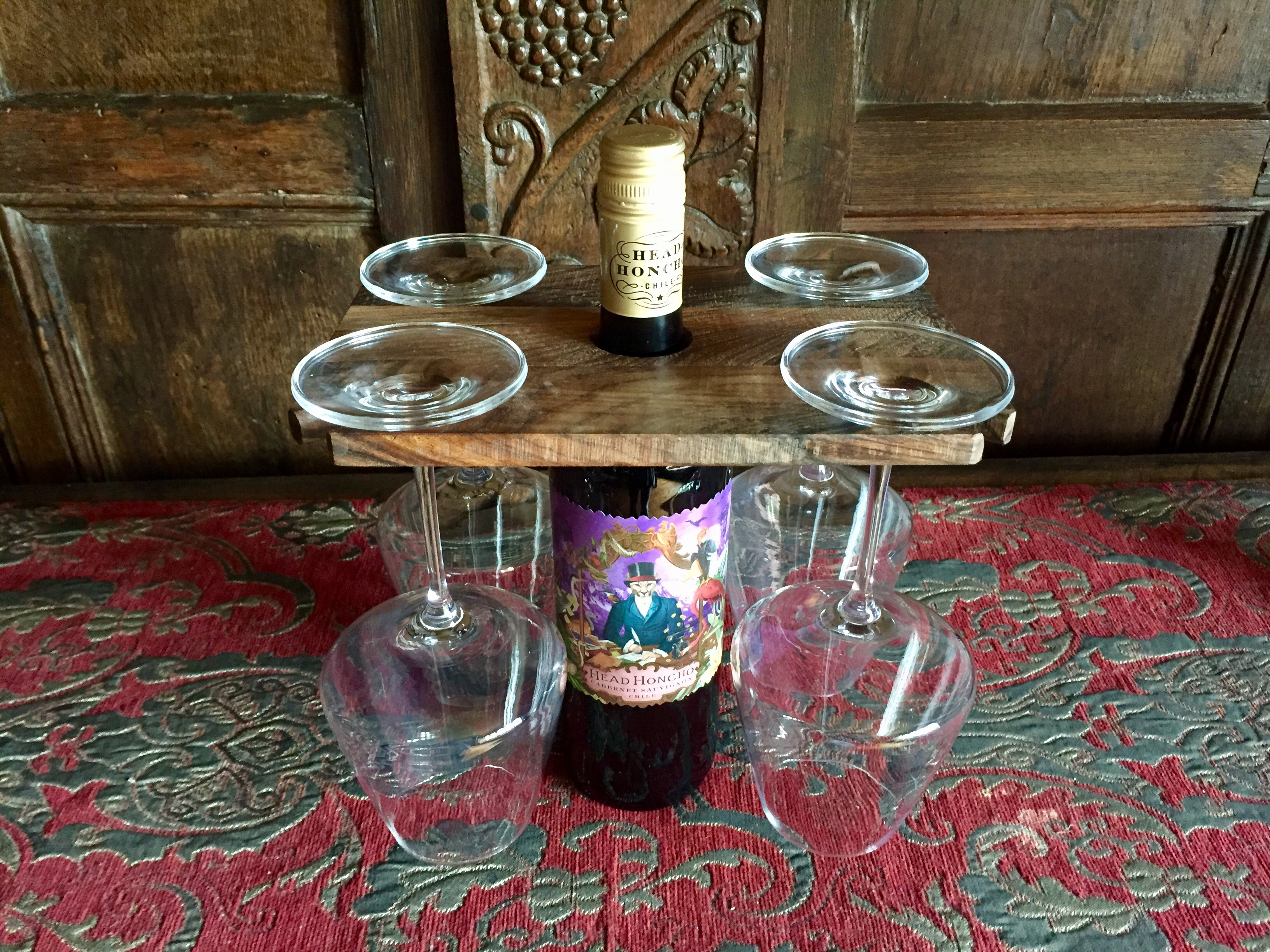 Walnut wine glass holder