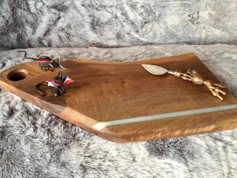 walnut white resin stripe bread board