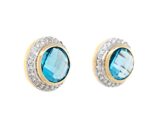 18K Yellow Gold Blue Topaz And Diamond Earrings